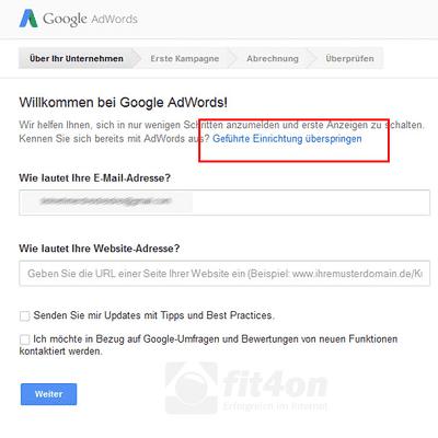 Google-Keyword-Planner_Einrichtung überspringen