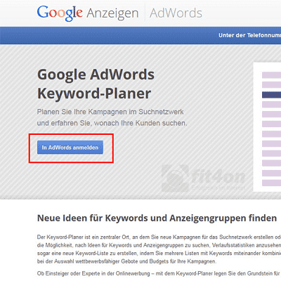 Google-Keyword-Planner_in AdWords anmelden