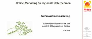 Suchmaschinenoptimierung Seminar IHK-Bildungszentrum Cottbus